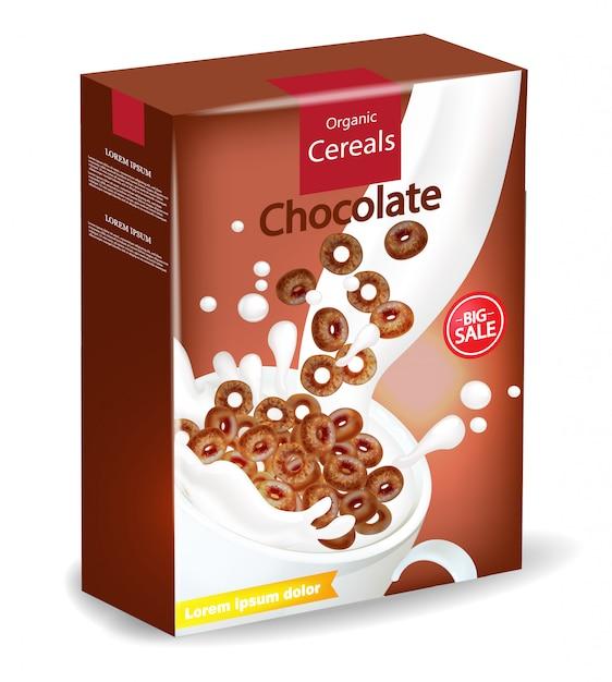 Макет упаковки из органических шоколадных хлопьев Premium векторы