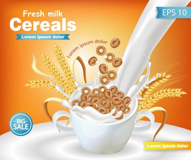 Чаша из ржаной крупы с молочным макетом Premium векторы