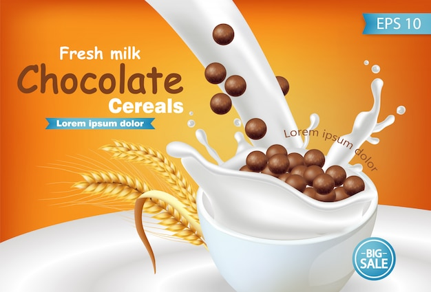Органические шоколадные хлопья в молоке всплеск реалистичный макет Premium векторы