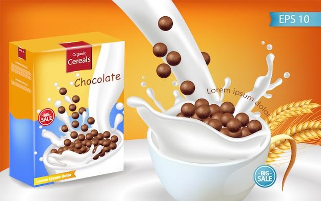 Органические шоколадные хлопья с молоком, всплеск, реалистичный макет Premium векторы
