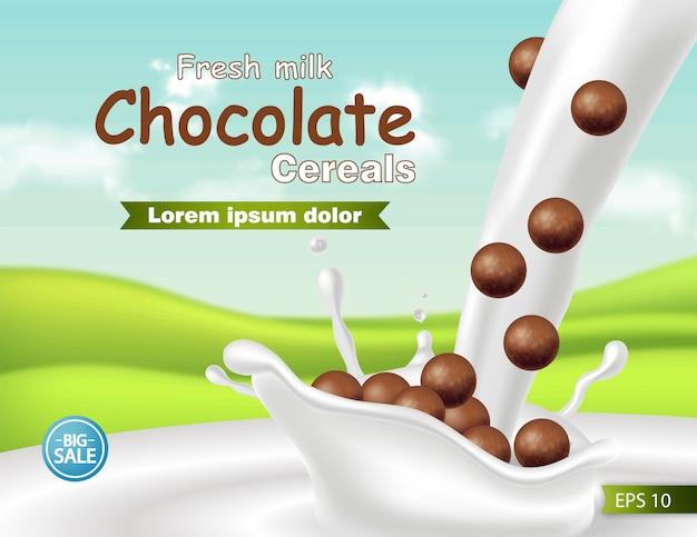 Шоколадные хлопья в молоке всплеск реалистичный макет Premium векторы