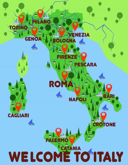 Италия карта страны инфографика Premium векторы