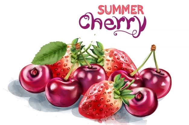 イチゴとチェリーの水彩画 Premiumベクター