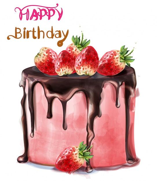 С днем рождения вкусный клубничный торт акварель Premium векторы