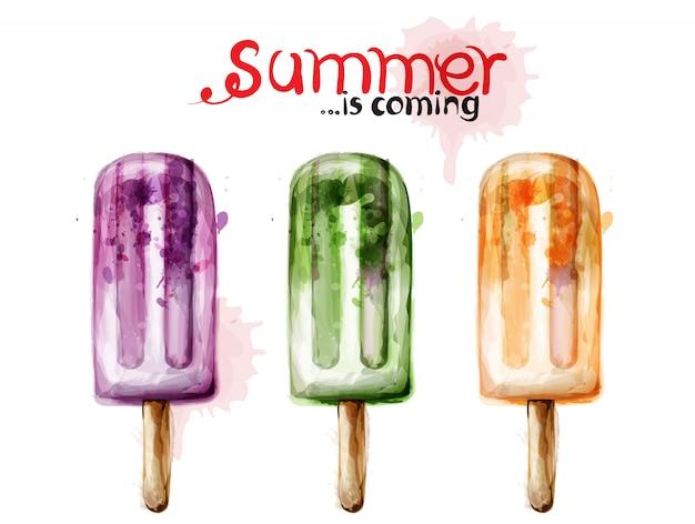 夏のアイスクリームの水彩画 Premiumベクター