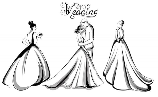 Свадебная пара силуэт линии искусства Premium векторы