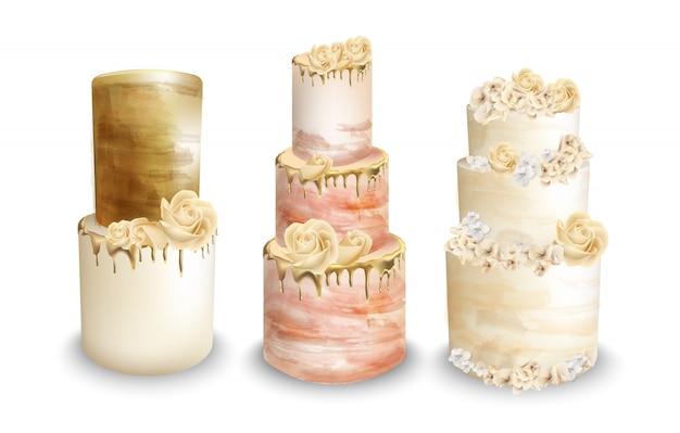 Свадебные торты акварелью Premium векторы