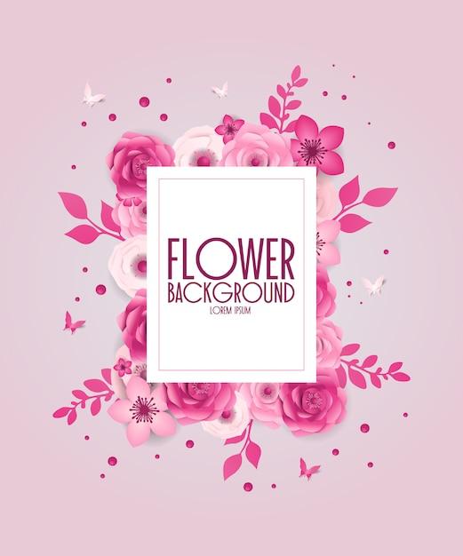春のお祭りの花の背景、紙のカットスタイル。 Premiumベクター