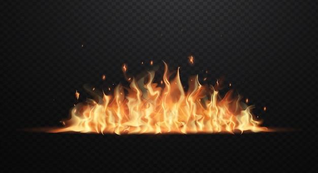 透明な黒のリアルな炎。フラット図 Premiumベクター
