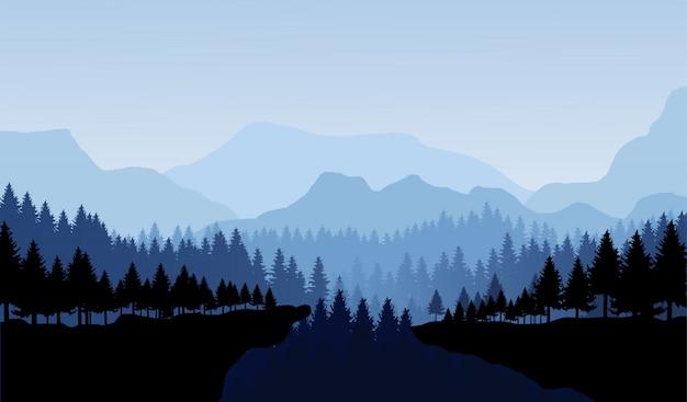 Горы и лес панорама векторные иллюстрации пейзаж. Premium векторы