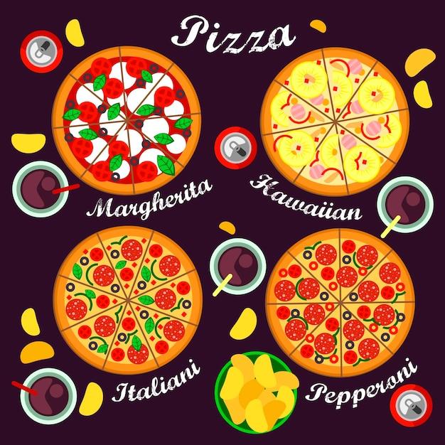 Пицца меню включает в себя пиццу сортов итальянская, гавайская, маргарита и пицца пепперони. Premium векторы