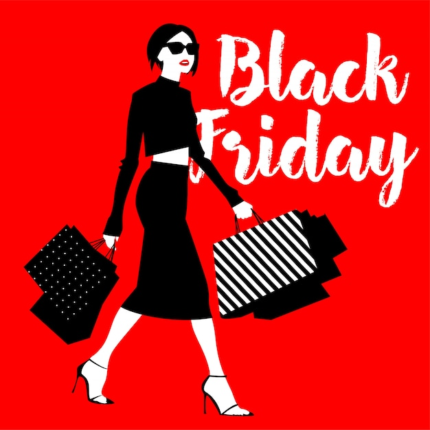 女の子とショッピングバッグのブラックフライデーバナー Premiumベクター