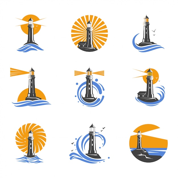 Маяк среди морских волн векторные иконки Premium векторы