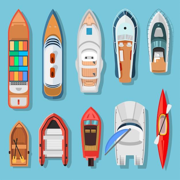 船とボートのトップビュー Premiumベクター