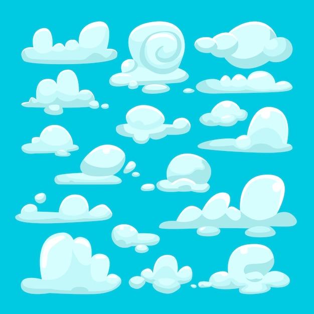 白い雲漫画セット Premiumベクター