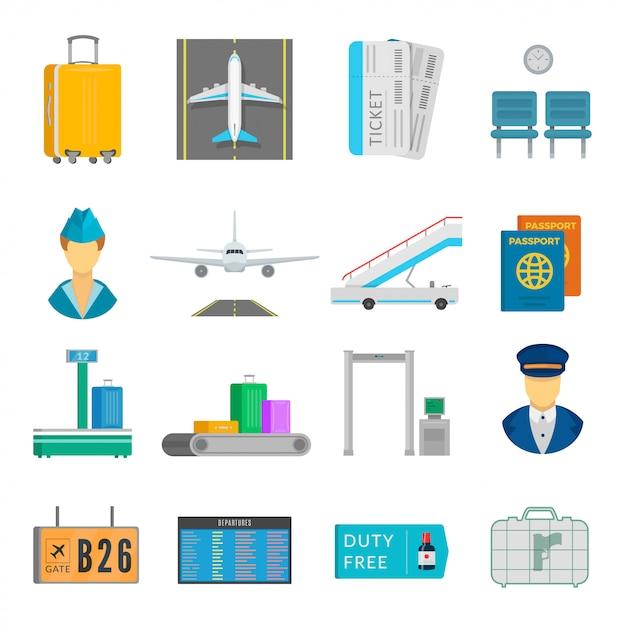空港サービスセット Premiumベクター