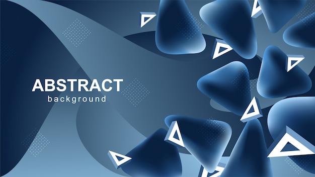三角形の要素と青の抽象的な背景 Premiumベクター