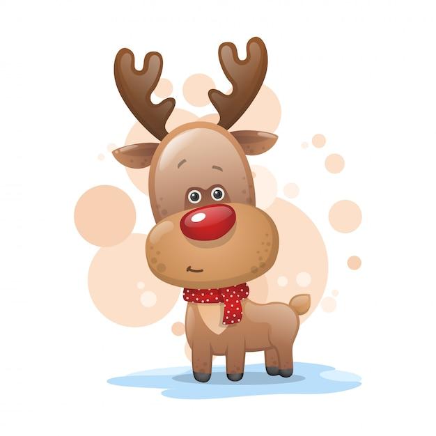 スカーフでかわいいクリスマス鹿 Premiumベクター