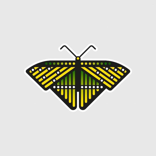 珍しい蝶のステッカー Premiumベクター