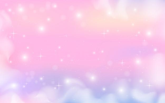 Фэнтези галактика голографический фон в пастельных тонах Premium векторы