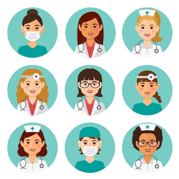 Медицинские плоские женские аватары с врачами и медсестрами Premium векторы