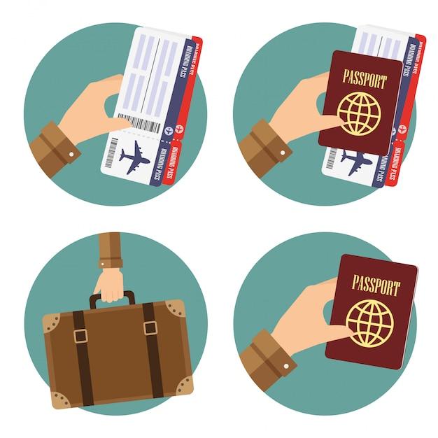 旅行のための要素を手に持つ丸いアイコン Premiumベクター