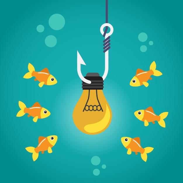 釣り針と周りに泳ぐ魚の球根 Premiumベクター