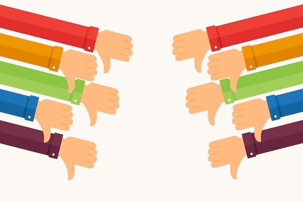 Кулаки с рукавами разных цветов Premium векторы