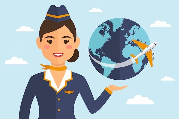 Стюардесса женщина в форме с землей и самолетом Premium векторы