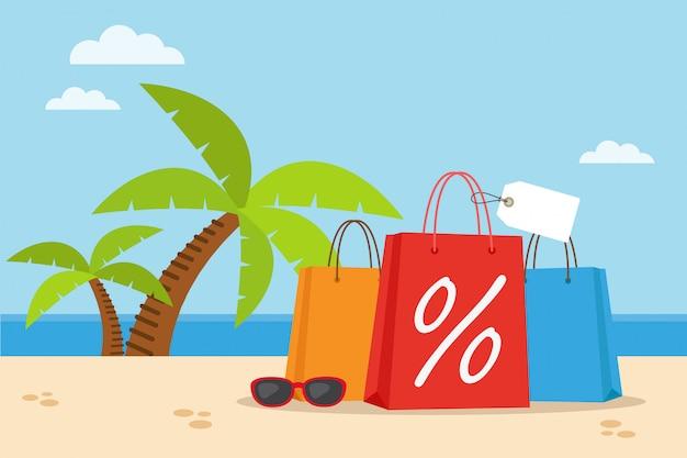 ヤシの木とビーチで買い物袋 Premiumベクター