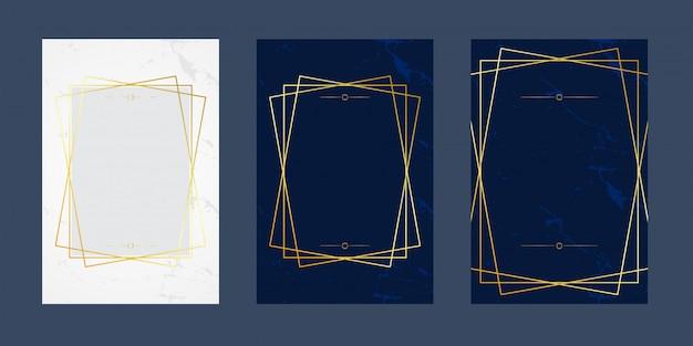 Пригласительные открытки белая голубая мраморная линия люкс набор Premium векторы