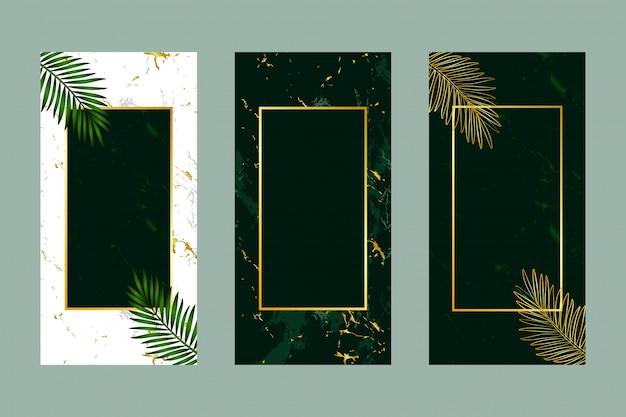 招待カード背景緑の葉金大理石 Premiumベクター