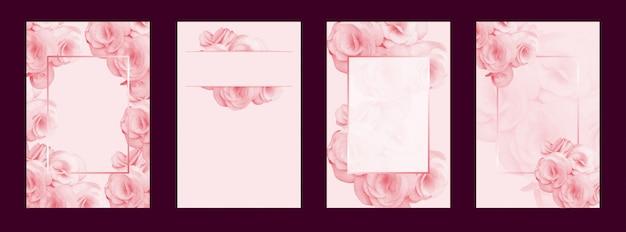 ウェディングカードの背景の花とフレームベクトル Premiumベクター