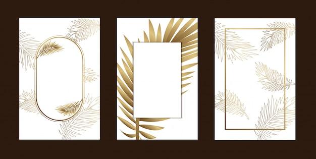 Пригласительные открытки элегантный контур листьев золотой белый Premium векторы