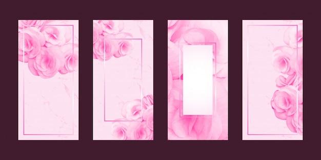 ロマンチックなカードの花とフレームのテキスト Premiumベクター