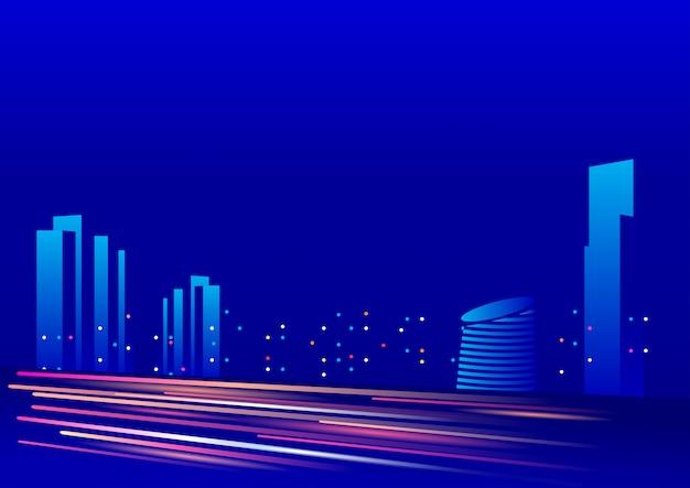建物の照明と青い背景の夜空 Premiumベクター