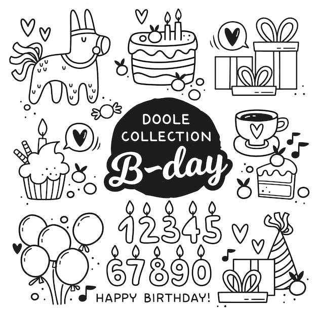 Каракули стиль день рождения элементы. Premium векторы
