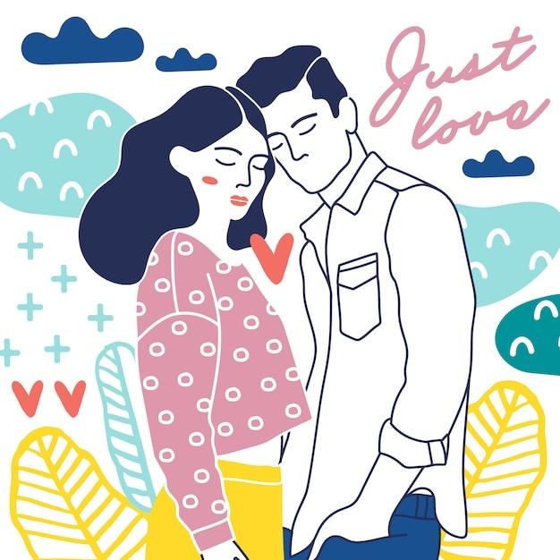 幸せなカップルと愛の要素。 Premiumベクター