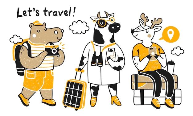 Путешествие животных. коллекция с милыми животными в поездке. бегемот, корова и лось. Premium векторы