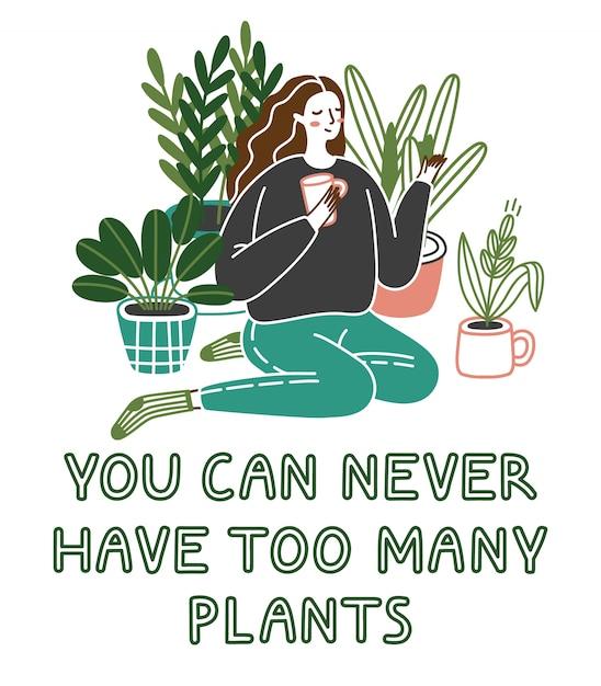 あなたはあまりにも多くの植物を持っていることができません。ポットで成長している植物が付いている床に座っているかわいい若い女性。狂った植物の女性。 Premiumベクター