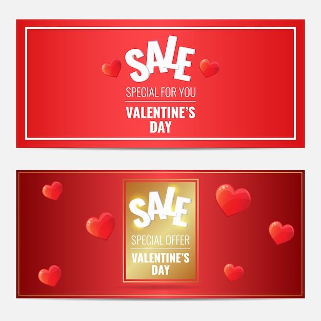 Счастливый день святого валентина продажа красный горизонтальный набор баннеров с золотой раме и сердца. Premium векторы