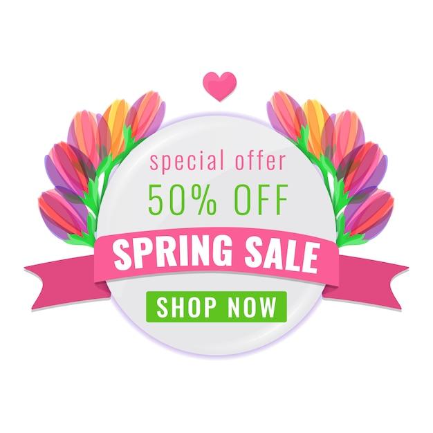 Весенняя распродажа специальное предложение баннер с красочными цветущими тюльпанами цветы и ленты. Premium векторы
