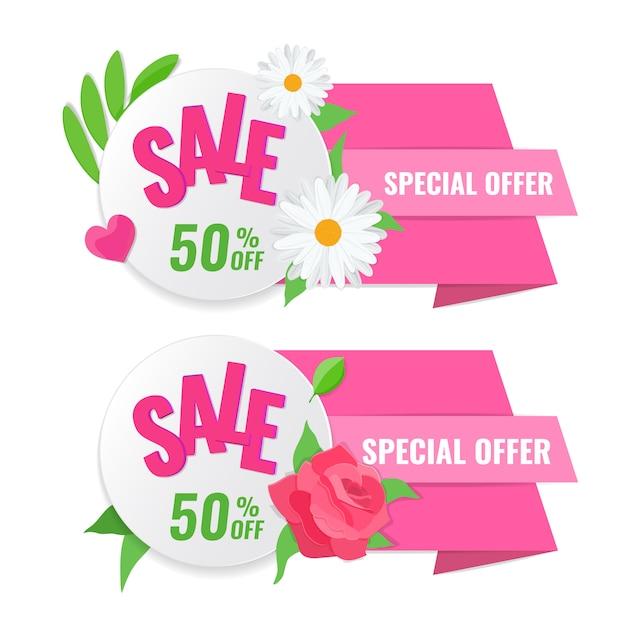 Набор весенней распродажи баннера с розой и ромашкой Premium векторы