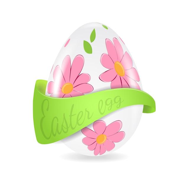 Иллюстрация пасхальное яйцо с цветочным декором и лентой Premium векторы