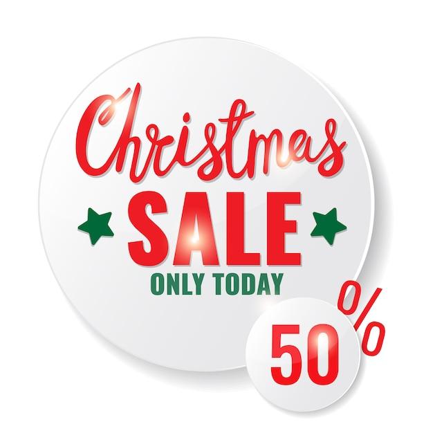 Рождественская распродажа круг баннер с рождественскими буквами. Premium векторы