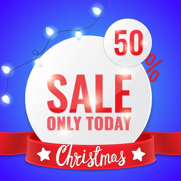 Рождественская распродажа круг баннер с легкой гирляндой и надписью. Premium векторы