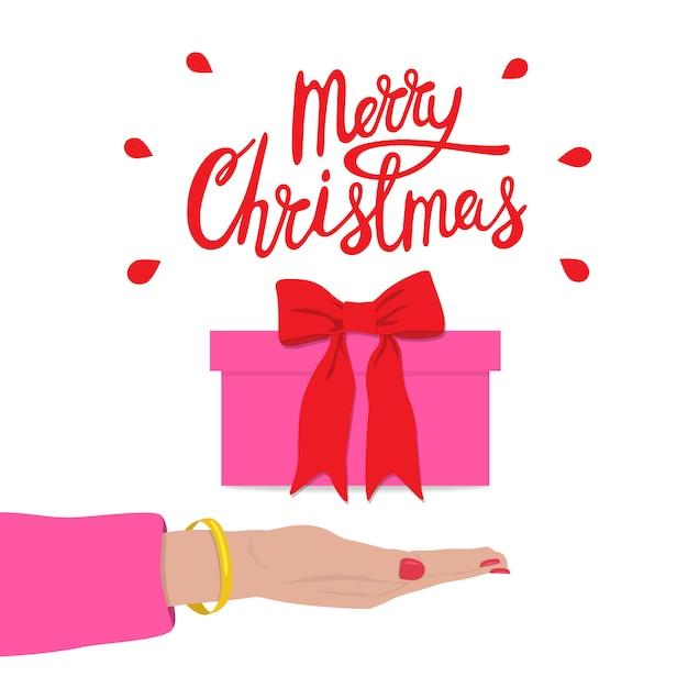 ギフトボックスと女性の手でメリークリスマスのお祝い。ホリデーセール Premiumベクター
