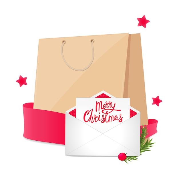 買い物袋とはがきの封筒のクリスマスバナー。ホリデーセール Premiumベクター