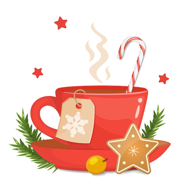 Красная чашка с рождественским печеньем в форме звезды, полосатым леденцом и рождественским тростником Premium векторы