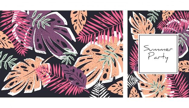 Тропический образец листьев Premium векторы